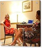 Michelle Obama And Dr. Jill Biden Wait Acrylic Print by Everett
