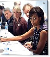 Michelle Obama Attends A Meeting Acrylic Print by Everett