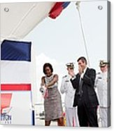 Michelle Obama Christens The Us Coast Acrylic Print by Everett