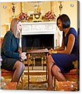 Michelle Obama Greets Mrs. Ada Acrylic Print by Everett
