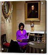 Michelle Obama Prepares Before Speaking Acrylic Print by Everett