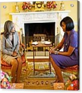 Michelle Obama Talks With Elizabeth Acrylic Print by Everett