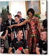Michelle Obama Talks With Participants Acrylic Print by Everett
