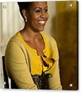 Michelle Obama Wearing A J. Crew Acrylic Print by Everett