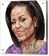 Michelle Obama With An Ipad Acrylic Print by Edward Ofosu