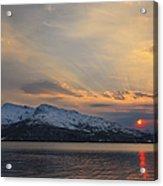 Midnight Sun Over Tjeldsundet Strait Acrylic Print by Arild Heitmann