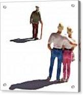 Miniature Figurines Couple Watching Elderly Man Acrylic Print by Bernard Jaubert