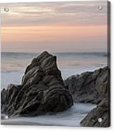 Mist Surrounding Rocks In The Ocean Acrylic Print by Keith Levit