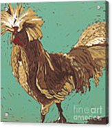 Mister Fowler - Linocut Print Acrylic Print by Annie Laurie