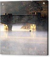 Misty Bridge Sunrise Acrylic Print by Vicki Jauron