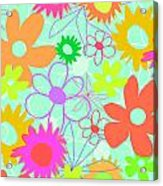 Mixed Flowers Acrylic Print by Louisa Knight