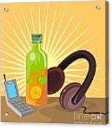 Mobile Phone Soda Drink Headphone Retro Acrylic Print by Aloysius Patrimonio