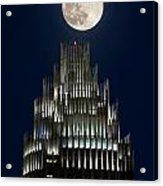 Moon Over Bank Of America Acrylic Print by Patrick Schneider