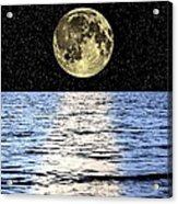 Moon Over The Sea, Composite Image Acrylic Print by Victor De Schwanberg