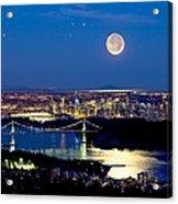 Moon Over Vancouver, Time-exposure Image Acrylic Print by David Nunuk
