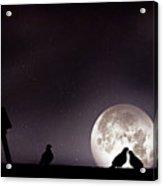 Moon With Love Pigeon Acrylic Print by Mhd Hamwi