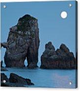 Moonset In Gaztelugache Acrylic Print by Pere Soler