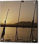 Moored Feluccas On The Nile River Acrylic Print by Kenneth Garrett