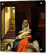 Mother Nursing Her Child Acrylic Print by  Pieter de Hooch