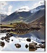 Mountains And Lake At Lake District Acrylic Print by John Short