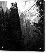 Mountains Of Yosemite . 7d6214 . Black And White Acrylic Print by Wingsdomain Art and Photography