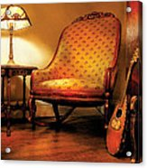 Music - String - The Chair And The Lute Acrylic Print by Mike Savad