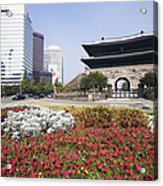 Namdaemun Gate With Flowers In Foreground Acrylic Print by Jeremy Woodhouse