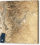 Natural-color Satellite View Of Amman Acrylic Print by Stocktrek Images