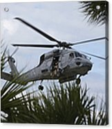 Navy Seals Look Out The Helicopter Door Acrylic Print by Michael Wood
