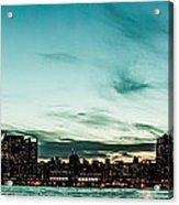 New Yorks Skyline At Night Ice 1 Acrylic Print by Hannes Cmarits