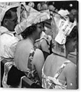 Newspaper Hats Acrylic Print by Fox Photos