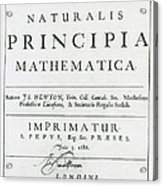 Newtons Principia, Title Page Acrylic Print by Science Source