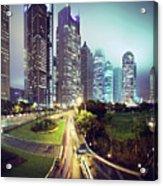 Night Fog Over Shanghai Cityscape Acrylic Print by Blackstation