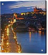 Night Lights Of Charles Bridge Or Acrylic Print by Trish Punch