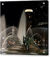 Night View Of Swann Fountain Acrylic Print by Bill Cannon
