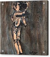 Nude Sculpture Young Boy And Pet Duck Religious Symbolism In Orange And Blue Vatican City Acrylic Print by M Zimmerman