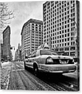 Nyc Cab And Flat Iron Building Black And White Acrylic Print by John Farnan