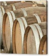 Oak Wine Barrels In Castillion La Bataille, France Acrylic Print by Steven Morris Photography