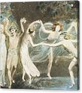Oberon Titania And Puck With Fairies Dancing Acrylic Print by William Blake