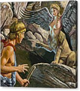 Oedipus Encountering The Sphinx Acrylic Print by Roger Payne