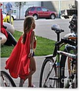 Off To Save The World- Back By Naptime Acrylic Print by Anjanette Douglas