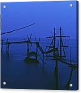 Old Fishing Platform Over Water At Dusk Acrylic Print by Axiom Photographic