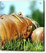 Old Glove And Baseball  Acrylic Print by Sandra Cunningham