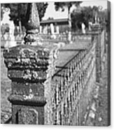 Old Graveyard Fence In Black And White Acrylic Print by Kathy Clark
