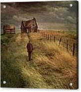 Old Man Walking Up A Path Of Tall Grass With Abandoned House In  Acrylic Print by Sandra Cunningham