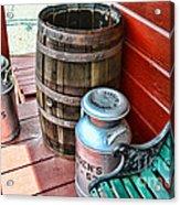 Old Milk Cans And Rain Barrel. Acrylic Print by Paul Ward