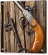 Old Pistol And Skeleton Key Acrylic Print by Garry Gay