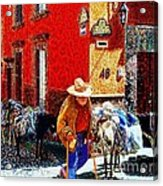 Old Timer With His Burros On Umaran Street Acrylic Print by John  Kolenberg