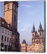 Old Town Square Prague At Sunset Acrylic Print by Tom Wurl