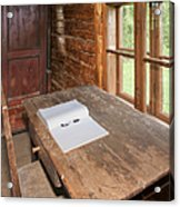 Old Wooden Desk And Chair Acrylic Print by Jaak Nilson